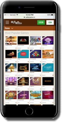 Cafe Mobile Casino Games