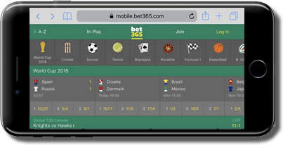 screenshot of Bet365 mobile sportsbook interface