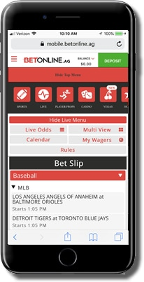 screenshot of Live Betting at Betonline sportsbook