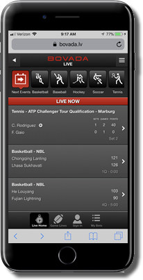 screenshot of Bovada's live betting options